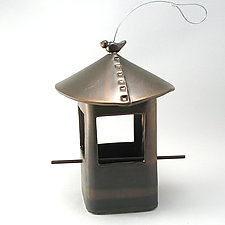 Stoneware Bird Feeder with Bird, Metallic Bronze Glaze by Cheryl Wolff (Ceramic Bird Feeder)