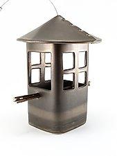 Bronze Bird Feeder with Windows by Cheryl Wolff (Ceramic Bird Feeder)