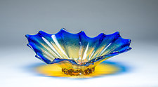 Corset Bowl in Cobalt Gold by Chris Mosey (Art Glass Bowl)