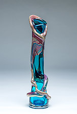 Ivy Vine Vase in Aqua by Chris Mosey (Art Glass Vase)