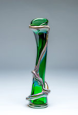 Ivy Vine Vase in Pine Green by Chris Mosey (Art Glass Vase)
