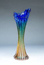 Corset Vase in Cobalt Gold by Chris Mosey (Art Glass Vase)
