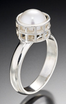 Silver Caged Pearl Ring by Marie Scarpa (Gold & Pearl Ring)