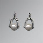 Stirrup Earrings by Marie Scarpa (Silver & Pearl Earrings)
