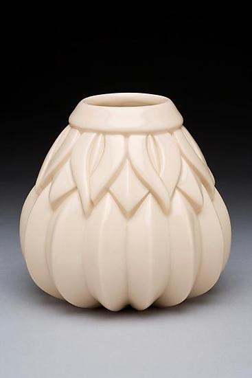 Medium Striped Sins Vase White