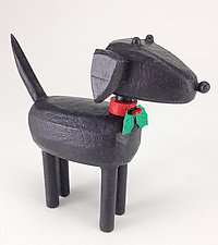Christmas Labrador by Hilary Pfeifer (Wood Sculpture)