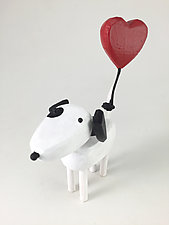 Spotted Dog with Heart Balloon by Hilary Pfeifer (Wood Sculpture)