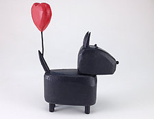 Scottie with Heart Balloon by Hilary Pfeifer (Wood Sculpture)