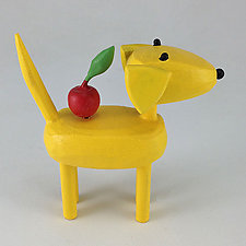 Yellow Dog with Apple by Hilary Pfeifer (Wood Sculpture)