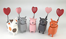 Kitties with Heart Balloons by Hilary Pfeifer (Wood Sculpture)