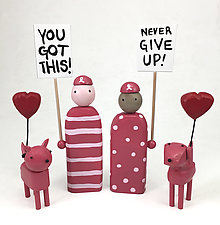Pink Support Pets by Hilary Pfeifer (Wood Sculpture)