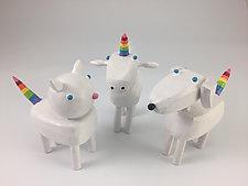Sparkle Rainbow Critters by Hilary Pfeifer (Wood Sculpture)