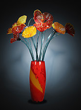 Tall Flower Vase by Suzanne Guttman (Art Glass Sculpture)