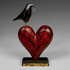 Raven on Heart Sculpture by Mark Orr (Wood Sculpture)