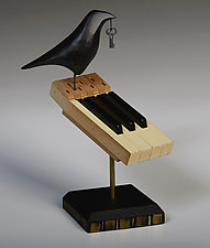 Raven on Vintage Piano Keys by Mark Orr (Wood Sculpture)