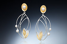 Monarch Earrings by Judith Neugebauer (Gold, Silver & Pearl Earrings)