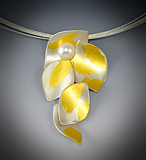 Lotus Pearl Necklace by Judith Neugebauer (Gold, Silver & Pearl Necklace)