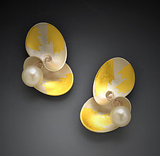Cloud Cluster Earrings by Judith Neugebauer (Gold, Silver & Pearl Earrings)