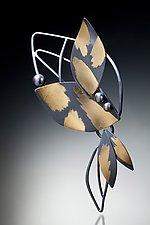 Lotus Blossom Brooch by Judith Neugebauer (Gold, Silver & Pearl Brooch)