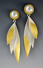 Golden Wings Earrings by Judith Neugebauer (Gold, Silver & Pearl Earrings)