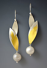 Feathered Pearl Earrings by Judith Neugebauer (Gold, Silver & Pearl Earrings)
