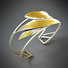 Feathered Cuff by Judith Neugebauer (Gold & Silver Bracelet)
