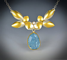 Aqua Daffodil Necklace by Judith Neugebauer (Gold, Silver & Stone Necklace)