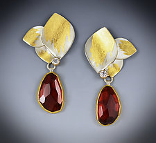 Garnet Drop Earrings by Judith Neugebauer (Gold, Silver & Stone Earrings)