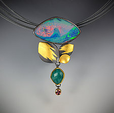 Red Tide Necklace by Judith Neugebauer (Gold, Silver & Stone Necklace)
