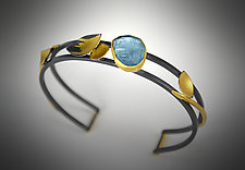 Aqua Cuff II by Judith Neugebauer (Gold, Silver & Stone Bracelet)
