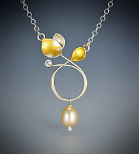 Sapphire Circle by Judith Neugebauer (Gold, Silver, Stone & Pearl Necklace)