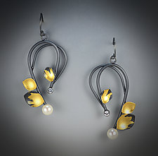 Sapphire Swirl Earrings by Judith Neugebauer (Gold, Silver & Stone Earrings)