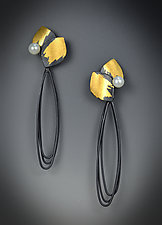 Vera Earrings by Judith Neugebauer (Gold, Silver & Pearl Earrings)