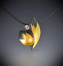 Sapphire Leaf Pendant by Judith Neugebauer (Gold, Silver & Stone Necklace)