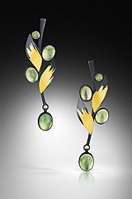 Prehnite Leaf Earrings by Judith Neugebauer (Gold, Silver & Stone Earrings)