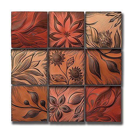 "Warm-Toned Botanical Tiles 12""x12"""