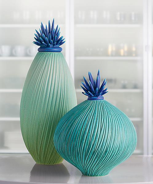 Ocean Wave Vessels With Urchin Lids By Natalie Blake Ceramic Vessel Artful Home