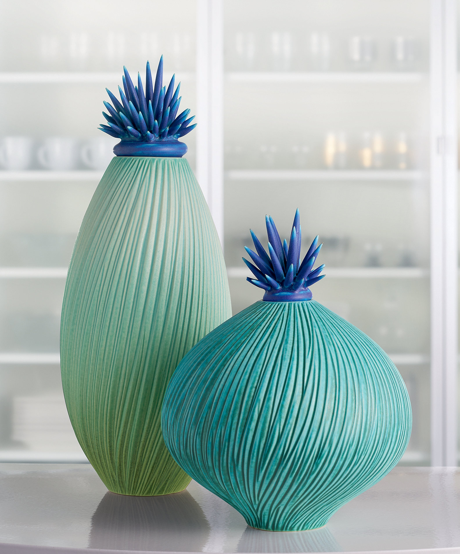 Ocean Wave Vessels With Urchin Lids By Natalie Blake