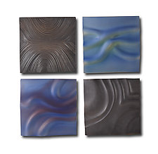 Blue Ripple Grouping by Natalie Blake (Ceramic Wall Sculpture)