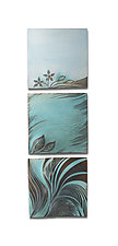 Turquoise Botanical Tryptic by Natalie Blake (Ceramic Wall Sculpture)