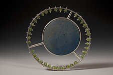 Solar/Blue by Ayala Naphtali (Silver & Wood Brooch)