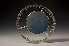 Solar/Blue by Ayala Naphtali (Silver & Wood Brooch)