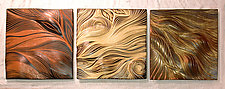 Abstract Ceramic Wall Tiles in Warm Tones by Natalie Blake (Ceramic Wall Sculpture)