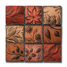 "Warm-Toned Botanical Tiles 12""x12"" by Natalie Blake (Ceramic Wall Art)"