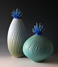 Ocean Wave Vessels with Urchin Lids by Natalie Blake (Ceramic Vessel)