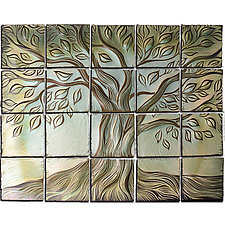 Tree of Life in Cream and Jade by Natalie Blake (Ceramic Wall Sculpture)