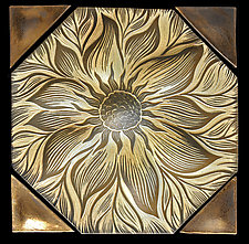 Floral Hexagon Backsplash by Natalie Blake (Ceramic Wall Sculpture)