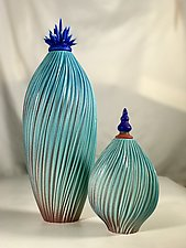 Blue Cactus Vessels by Natalie Blake (Ceramic Vessel)