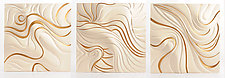 White and Gold Leaf Dune by Natalie Blake (Ceramic Wall Sculpture)
