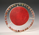 Solar/Red by Ayala Naphtali (Silver & Coconut Shell Brooch)